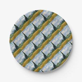 Vincent van Gogh-Weizen-Feld mit Zypressen-Kunst Pappteller