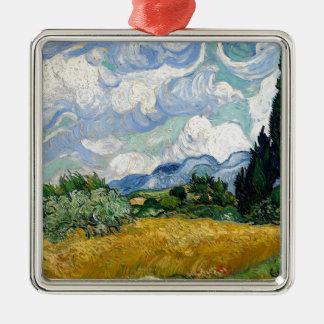 Vincent van Gogh-Weizen-Feld mit Zypressen-Kunst Quadratisches Silberfarbenes Ornament