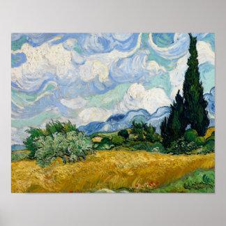 Vincent van Gogh - Weizen-Feld mit Zypressen Poster