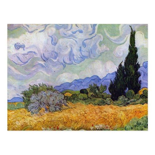 Vincent Van Gogh Weizen Feld Mit Zypressen Postkarte