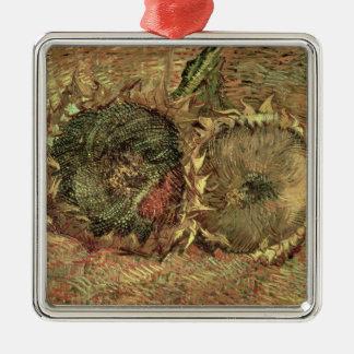 Vincent van Gogh | zwei geschnittene Sonnenblumen, Quadratisches Silberfarbenes Ornament