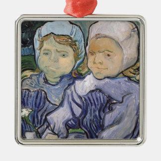 Vincent van Gogh | zwei kleine Mädchen, 1890 Quadratisches Silberfarbenes Ornament