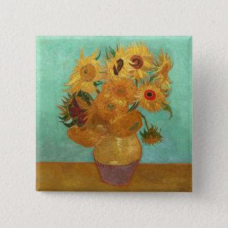 Vincent van Gogh zwölf Sonnenblumen in einem Vase Quadratischer Button 5,1 Cm