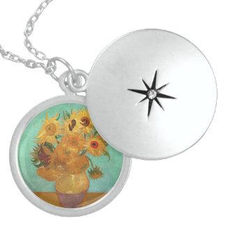 Vincent van Gogh zwölf Sonnenblumen in einem Vase Sterling Silberkette