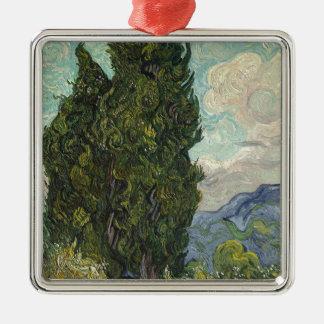 Vincent van Gogh - Zypressen-Malen Quadratisches Silberfarbenes Ornament