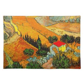 Vincent van Goghlandschaft u. -haus erhöht Stofftischset