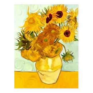 Vincent van Goghs gelbe Sonnenblume, die 1888 malt Postkarte