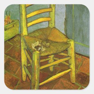 Vincents Stuhl mit seinem Rohr durch Van Gogh Quadratischer Aufkleber