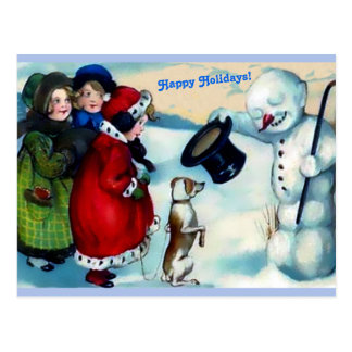 Vintaage Snowman, Mädchen, Hund, glückliche Postkarte