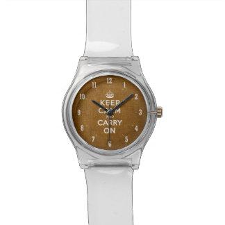 Vintag behalten Sie Ruhe und machen Sie | Brown Armbanduhr