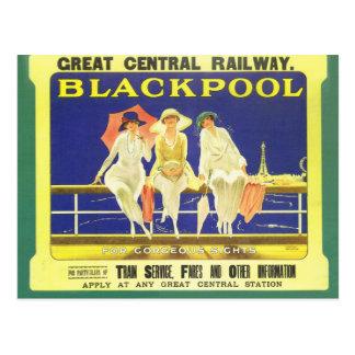 Vintag, Blackpool, England, Bahnplakat Postkarte