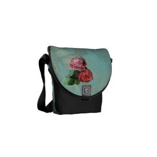 Vintag, Blume, mit Blumen, Rosen, messener Tasche Kurier Tasche