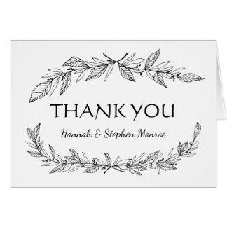Vintag danke schwarz, weiße Lorbeer-Blatt-Hochzeit Karte