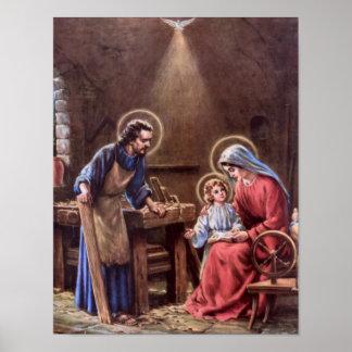 Vintag die heilige Familie, Jesus Christus, Josef, Poster