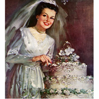 Vintag die schöne Braut und ihr Hochzeits-Kuchen Photofigur