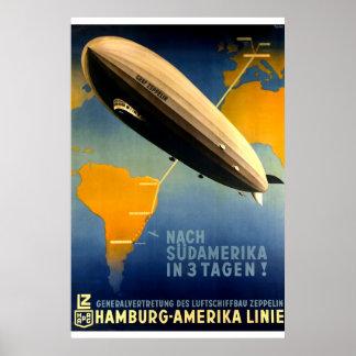 Vintag - Dreißigerjahre Graf Zeppelin Travel Poster