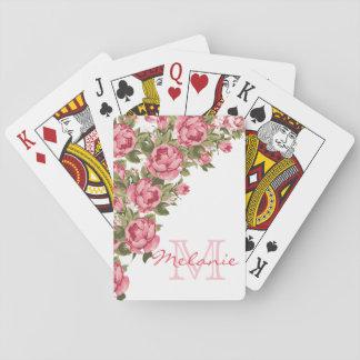 Vintag erröten rosa Rosen Pfingstrosen Name, Spielkarten