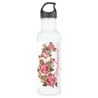 Vintag erröten rosa Rosen Pfingstrosenname Edelstahlflasche