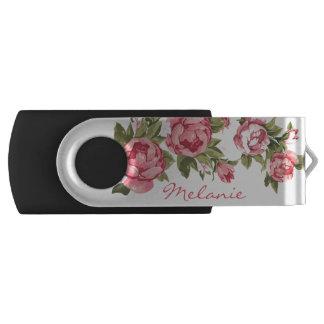 Vintag erröten rosa Rosen Pfingstrosenname USB Stick