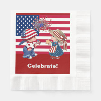 Vintag feiern Sie amerikanische Serviette