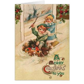 Vintag frohe Weihnachten, Kinder auf Karte