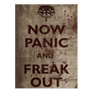 Vintag jetzt versetzen Sie in Panik u. flippen Sie Postkarte