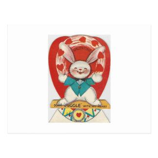 Vintag jonglieren Sie HäschenValentine Postkarte