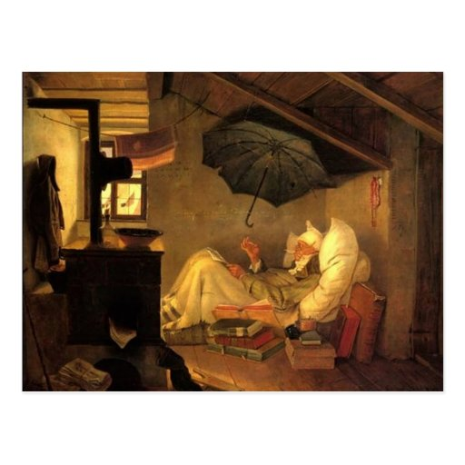 Vintag-Motiv der arme Dichter Postkarte