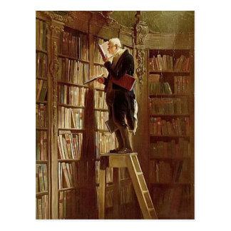 Vintag-Motiv der Bücherwurm Postkarte