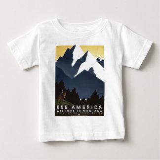 Vintag-Reise-Plakat-Montana-Amerika-USA Baby T-shirt
