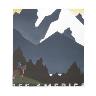 Vintag-Reise-Plakat-Montana-Amerika-USA Notizblock