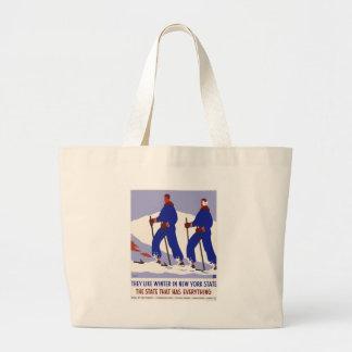 Vintag-Reise-Plakat-Neu-York-Amerika-USA Jumbo Stoffbeutel