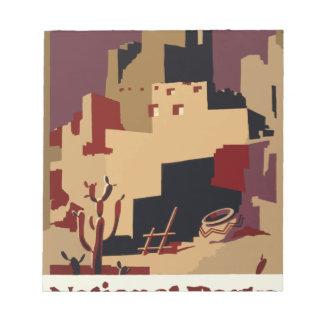 Vintag-Reise-Plakat-Pueblo-Von-D-Südwesten Notizblock