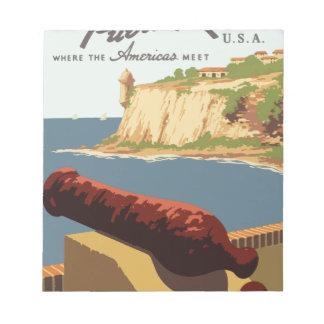 Vintag-Reise-Plakat-Puerto-Rico Notizblock