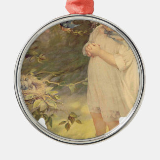 Vintag Rundes Silberfarbenes Ornament