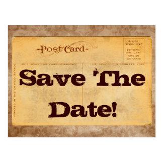 Vintag Save the Date! Einladungs-Postkarten Postkarte
