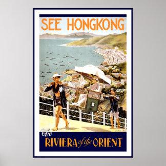Vintag sehen Sie Hong- Kongreise-Plakat Poster