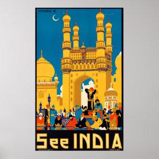 Vintag sehen Sie Indien-Reise-Plakat durch Poster