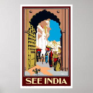 Vintag sehen Sie Indien-Reise-Plakat Poster