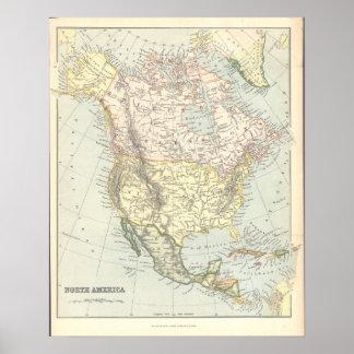 Vintage1890 Karte Nordamerika Vereinigte Staaten Poster