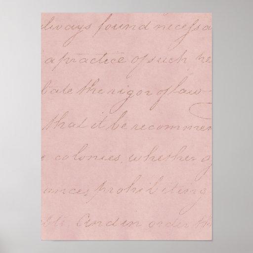 Vintage 1700s rosa Rosen-Text-kolonialpergament Plakatdruck