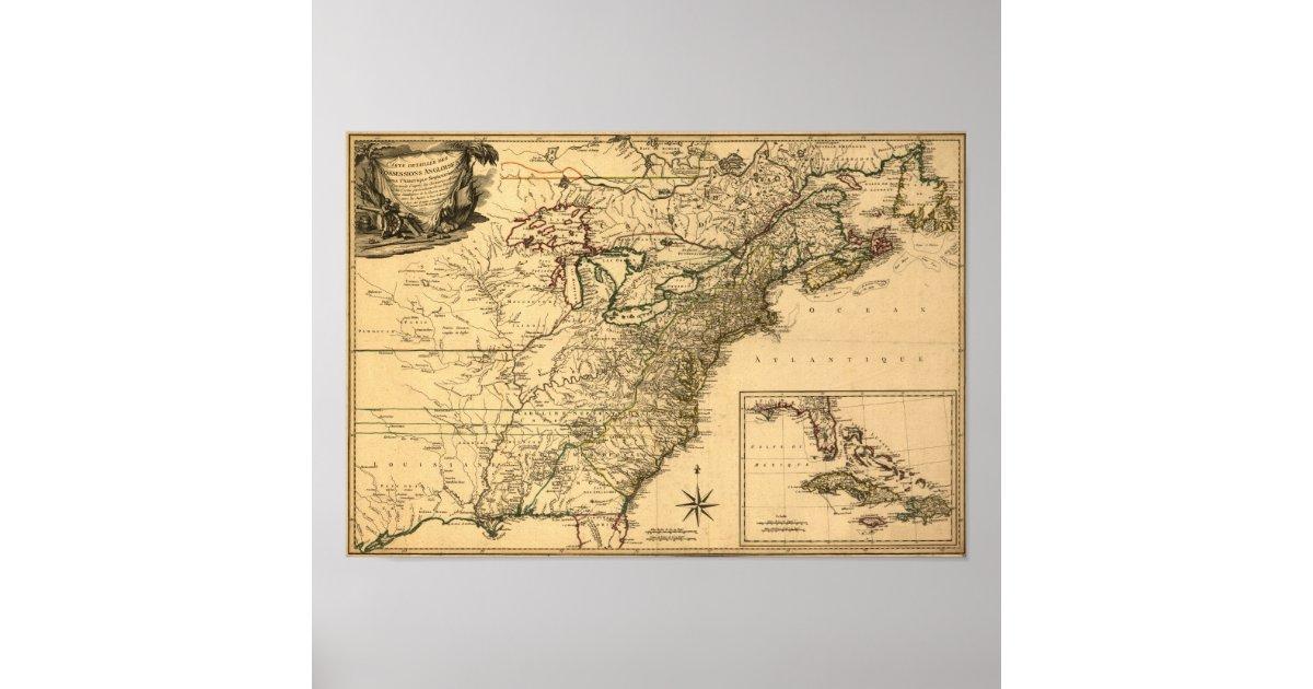 Vintage 1777 amerikanische kolonien karte durch poster zazzle - Amerikanische weihnachtskarten ...