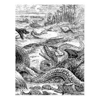 Vintage 1800s Dinosaurier-Illustration - Postkarte