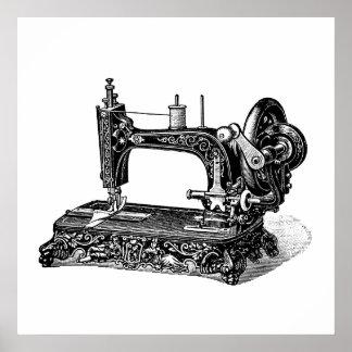 Vintage 1800s Nähmaschine-Illustration Poster