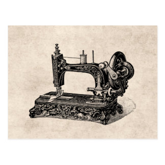 Vintage 1800s Nähmaschine-Illustration Postkarte