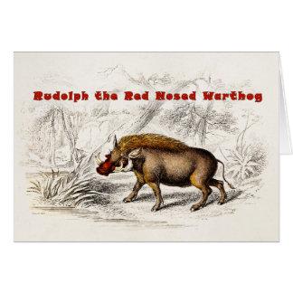 Vintage 1800s roch das Rot Warthog Schweine Karte
