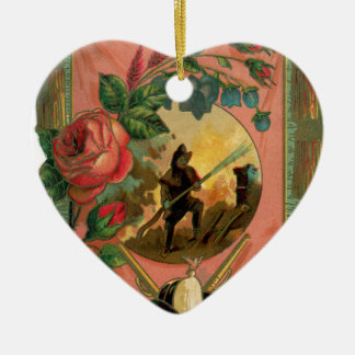 Vintage 1880's Feuerwehrmann-Feuerwehrmann-Grafik Keramik Herz-Ornament
