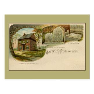 Vintage 1890s Andenken von Philadelphia litho Postkarte