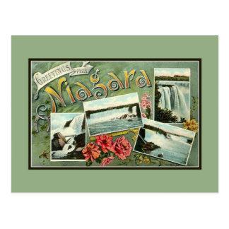 Vintage 1900skunst nouveau Grüße von Niagara Postkarte