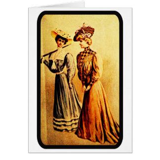 Vintage 1905 Damen-Mode-Anmerkungs-Karte Mitteilungskarte
